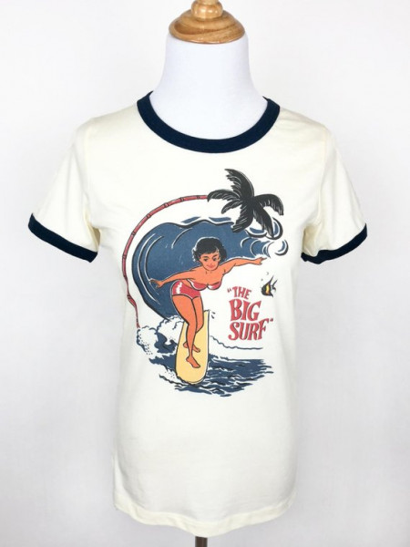 The big surf Ringer T-shirt in Natural/Navy